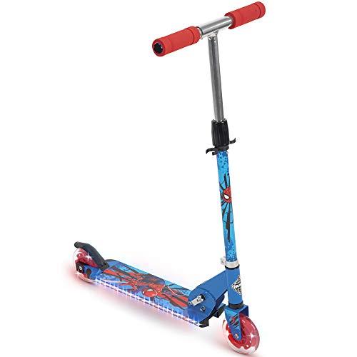 Huffy Marvel Spider-Man Electro-Light Inline Scooter for Kids, Blue