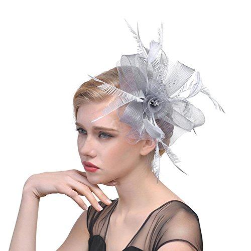 Bibi Plume Banquet Plume Couvre-chef Couvre-chef Plume Chapeau Mariage Accessoires de Cheveux Élégant Circulaire Fleur Plume Fascinator Cheveux Clip Chapeau Banquet De Mariage Barrettes