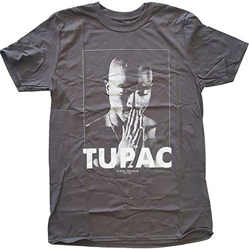 Rockoff Trade Herren Tupac Praying T-Shirt, Grau (Anthrazit), M