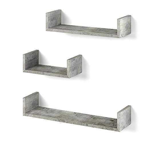 Vicco 3er Set Wandregal Hängeregal Bücherregal Wandboard Trend Regal (Beton)