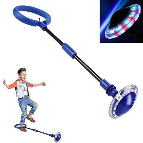 Q-WOOFF Anillo de saltar intermitente para niños, pelota de salto deportiva, plegable, adecuado para juegos de habilidad para niños o adultos, ejercicio (azul)