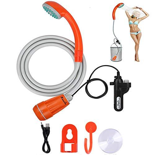 Zooma Tragbare Duschen Camping Dusche, Campingdusche mit Tauchpumpe, Tragbar Outdoor Dusche Wasserpumpe für Camping (Einheitsgröße, Orange)