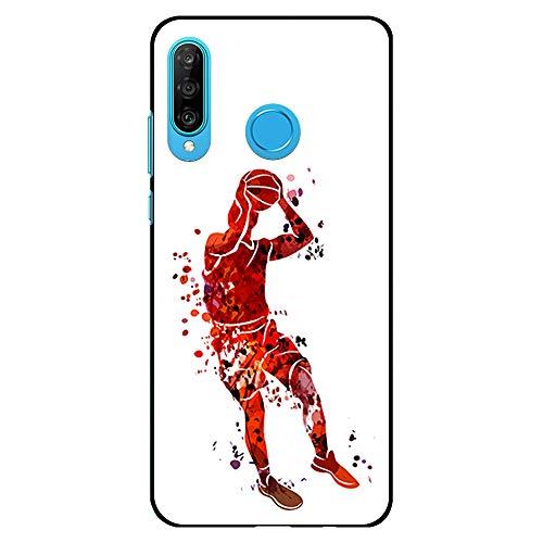 BJJ SHOP Schwarz Hülle für [ Huawei P30 Lite ], Klar Flexible Silikonhülle, Design: Basketball-Spieler-Aquarell