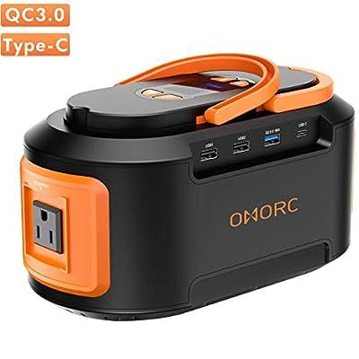 OMORC Portable Power Station 222Wh 60000mAh 4 USB (QC 3.0 &Type C PD Charger) 4 DC Ports,300W(Peak) AC Outlets, Solar Generator Battery Backu, Orange