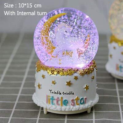 Bola de nieve con diseño de unicornio y luna, bola de cristal giratoria, reloj de juego de Navidad, decoración para el hogar, accesorios textiles