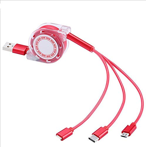 Multifunctional USB retractable charging cable, 4FT 3-in-1 multi-charger cable adapter, Type C/Micro USB port compatible with mobile phones, tablets and more general purpose, 2 pieces (red & gray)