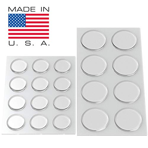 Round Clear Adhesive Bumpers Combo (Large, Medium) Pack - Set of 20 Transparent Self Stick Rubber Pads for Glass Table Top, Furniture, Electronics, Laptop, Mirrors - Made in USA