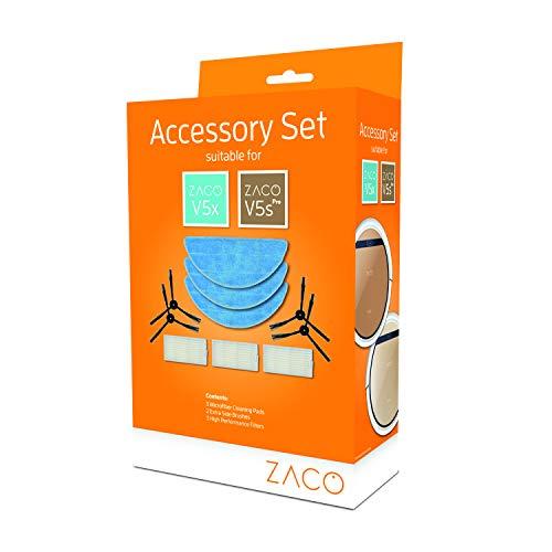 Set di accessori originali Zaco per V5sPro e V5x - 3 filtri antiparticolato + 4 spazzole laterali + 3 panni...