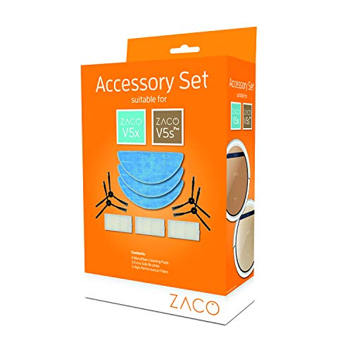 ZACO original Zubehör-Set passend für ZACO V5sPro und V5x Saugroboter mit Wischfunktion, inkl. Wischtücher, Seitenbürsten und Filter