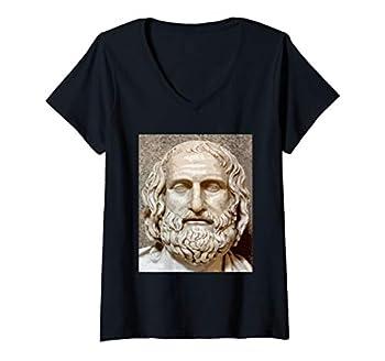 Womens Euripides - Ancient Greece Playwright Greek Tragedian V-Neck T-Shirt