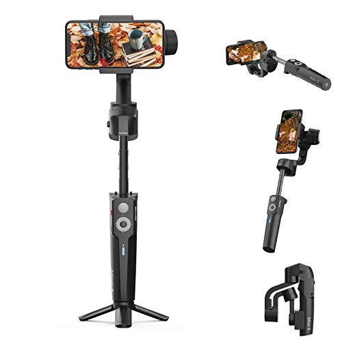 MOZA Mini-S PRO Stabilizzatore cardanico per smartphone con asta di estensione, con un pulsante di zoom per tracciamento di oggetti pieghevoli a 3 assi Gimbal