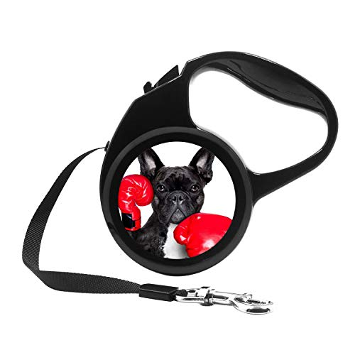 Retractable Dog Leash, 7ft Dog Walking Leash for Small Dogs up to 26lbs, One Button Break & Lock, Unique Design - Boxing French Bulldog