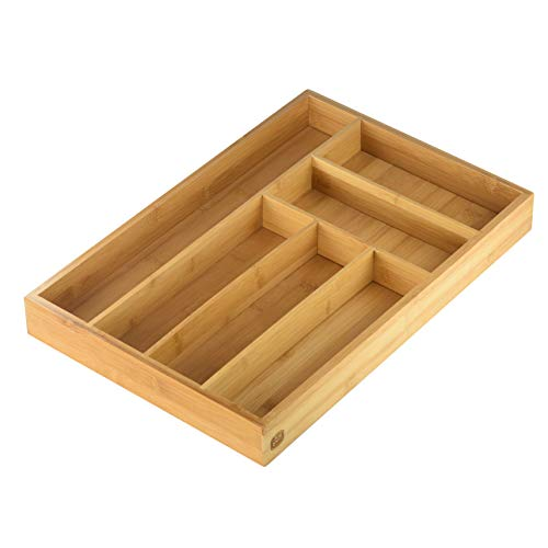 YBM HOME Bamboo Cutlery and Knives Tool Tray with 6 Compartments Perfect Kitchen Drawer Organizer for Silverware 341