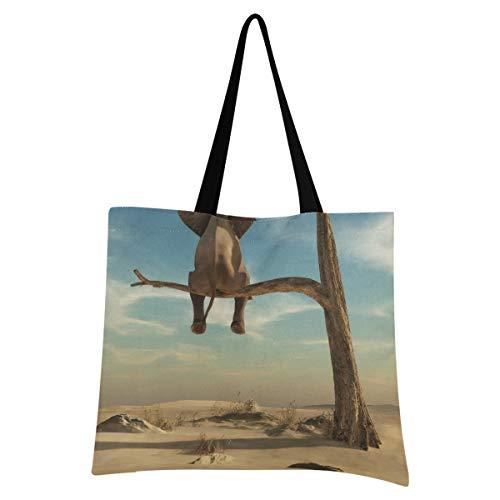 XIXIXIKO - Bolsa de lona ligera para la playa, con diseño de elefante, para mujeres, niñas, compras, gimnasio, playa, viajes diarios
