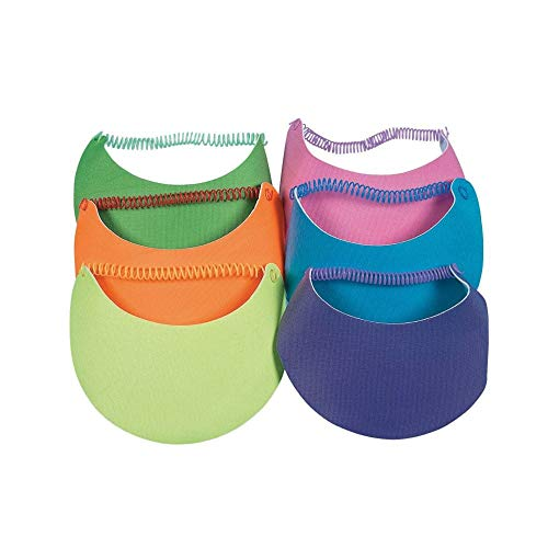 Neon Foam Visors for Kids - Set of 12, each with Coil Bands - Apparel and Crafts
