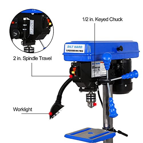 BILT HARD 8 inch 5-Speed Drill Press with Worklight, Benchtop Drill Machine with Drill Vise and Bit Set, CSA Certified