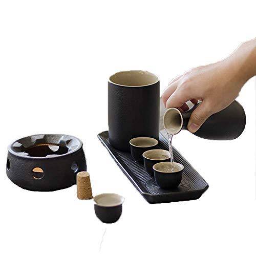 Wunderschönes Set 8-teiliges Sake-Set, Weingläser-Set mit schwarzer Glasur, Wärmekanne und Kerzenherd, urige Textur mit Geschenkbox, für kalten/warmen/heißen Sake/Shochu/Tee, bestes
