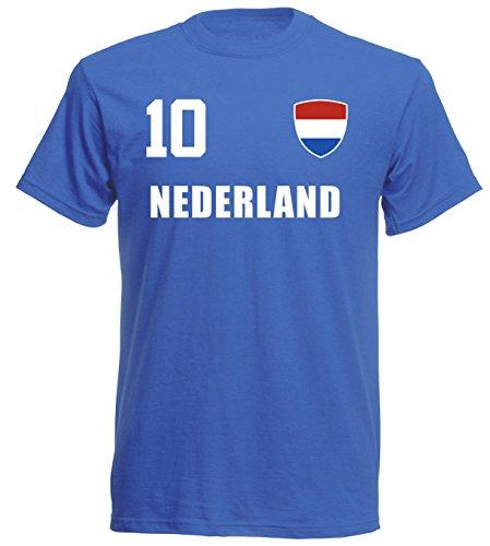 Niederlande Holland WM 2018 T-Shirt Trikot Style - Blau ALL-10 - S M L XL XXL (2XL)