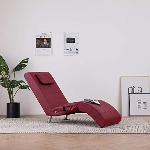 Festnight Relaxliege Liegesessel Lounge Liege | Chaiselongue mit Kissen | Kunstleder Relaxsessel | Wohnzimmer Liegestuhl - Braun/Weinrot