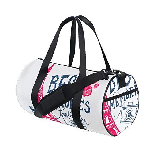 HARXISE Bolsa de Viaje,Torre Eiffel Cámara fotográfica Beso Labios Rosas y Texto Mejores Recuerdos,Bolsa de Deporte con Compartimento para Sports Gym Bag