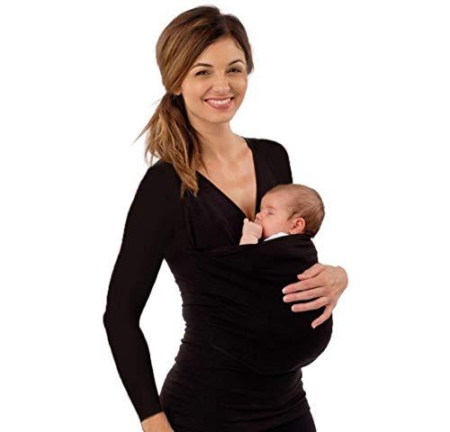 KURAZL Familie Babytrage Kleidung Känguru T-Shirt Multifunktionskleidung für Mutter mit Baby Kurzarm Big Pocket Tank T-Shirt T-Shirt Top,Schwarz,L