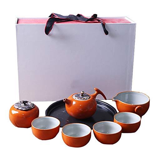 Getrichar Set de Viaje té, Juego de té de cerámica portátil, Sencillo y Moderno Juego de té de los hogares en Forma de Caqui-, Set de Regalo de cerámica (Color : Eight-Piece Suit)