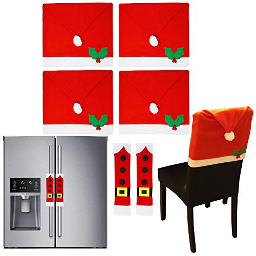 JOYIN 4 Pcs Christmas Chair Cover Santa Claus Hat w/Two Door Handle Covers for Dining Chair Slipcovers Decorations Ornaments Set for Xmas Refrigerator Decoration, Xmas Indoor Décor