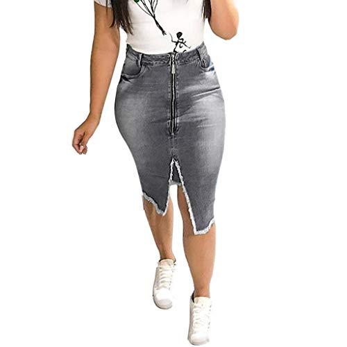 Damen Knielang Jeansrock, QIjinlook Denim Bleistiftrock Freizeit Rock Bleistift Boutique Blau Denim Jeans Größe Kurzer Rock Minirock Destroyed-Look Jeans Rock Freizeit (XXXL, Grau)