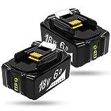 Gakkiti マキタ 18v バッテリー 6.0ah BL1860 マキタ 18v 互換バッテリー 6000mAh大容量 リチウムイオン 互換 BL1815、BL1830、BL1840、BL1850、BL1862 リチウムイオン バッテリー 電動工具専用 日本国内出荷 【1年保証】 2点