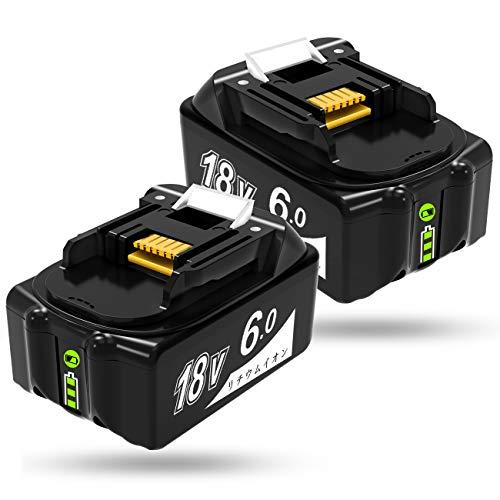 Gakkiti マキタ 18v バッテリー 6.0ah BL1860 マキタ 18v 互換バッテリー 6000mAh大容量 リチウムイオン ...
