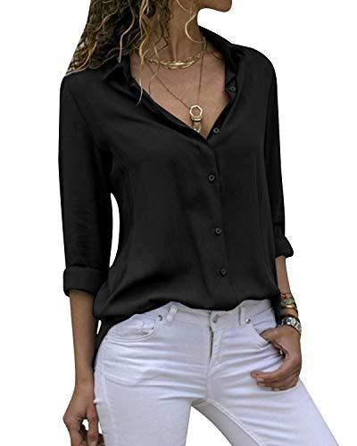 Cassiecy Damen Bluse Chiffon Elegant V-Ausschnitt Langarm Casual Oberteile Hemd Lose Langarmshirt Tops(Scharz,L)