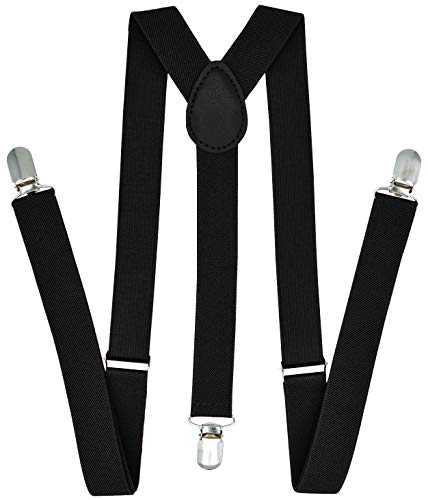 Trilece Suspenders for Men Adjustable 1 Inch Wide Y Back Style Strong Clips Solid Colors (Black)