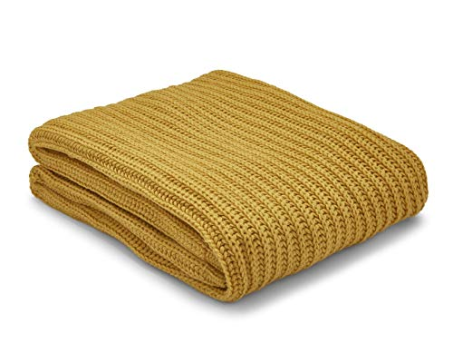 Catherine Lansfield Chunky Knit Manta, acrílico, Ocre, 125x150cm