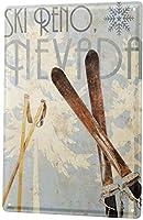 ガレージアートメタルサイン、ノスタルジックなスキーポールリノネバダ、錫の壁サインレトロな鉄の絵ヴィンテージメタルプラーク装飾ポスターバーカフェストアホームヤード