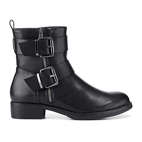 Cox Damen Winter-Boots in robuster Leder-Optik, Stiefel in Schwarz mit angenehm warmem Innen-Futter Schwarz Synthetik 40