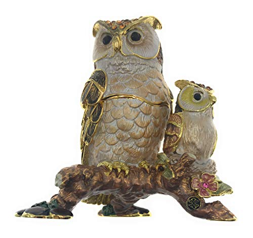 Kubla Crafts Enameled Mother and Baby Pair of Owls on Branch Trinket Box, Accented with Austrian Crystals, 3 Inches Tall