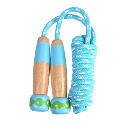 Xiangmall Springseil Kinder Verstellbare Baumwolle Springseil mit Holzgriff für Fitness Training, Sport Spielzeug und Fett Brennen Übung (Blau)