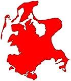 Rügen Aufkleber Insel in 9 Größen und 25 Farben (8,2x10cm hellrot)