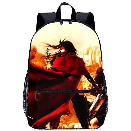 LGBCK Personalisierte Mode Kinderrucksack Final Fantasy VII Vincent Valentine 3D-Schultaschen, Freizeit-Schultaschen für Kinder, bedruckte Schultaschen, geeignet für Jungen und Mädchen