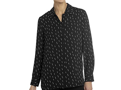 Chelsea & Theodore Womens Long Sleeve Printed Button Up Fashion Blouse Top (Lighting Print, Large)