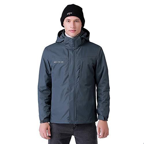 Los hombres de 3-en-1 camisa calentada, chaqueta de esquí chaqueta de invierno con capucha extraíble impermeable para la caza al aire libre que va de excursión de esquí de la motocicleta,Gris,L