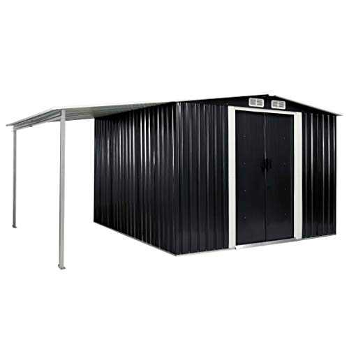 Magnetic Garden Shed with Sliding Doors Metal Tool Shed with Roof Pent Shed for Garden Tools Cabinet Anthracite 386 × 259 × 178 cm Steel