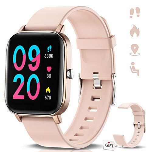 """NAIXUES Smartwatch, Reloj Inteligente Impermeable IP67 Reloj Deportivo 1.4\"""" Pantalla Táctil Completa con Pulsómetro, Monitor de Sueño, Podómetro, Notificaciones para Mujer Hombre (Rosa Oro)"""