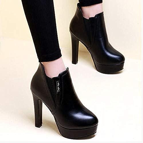 AGECC Stiefel Semi-rotondas de Invierno de Damas para damen Stiefel de Moda de Cachemira con schuhe Gruesos de tacón Alto para Todo el Partido en Invierno Buena Suerte para ti