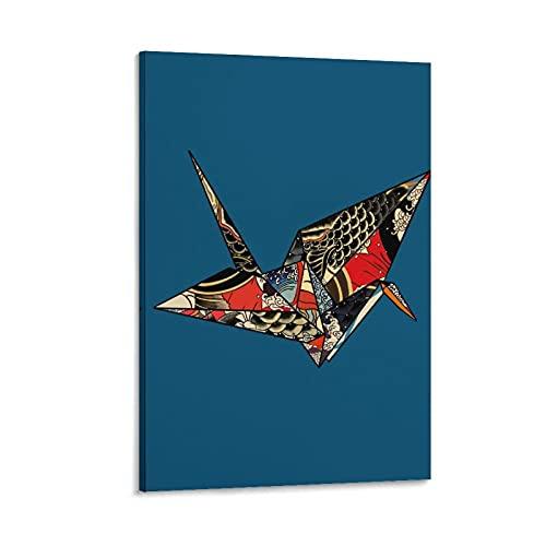 Póster de lienzo con diseño de pájaros de Origami Japón y diseño de pájaros de 60 x 40 cm