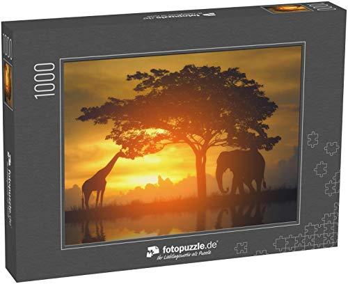 Puzzle 1000 Teile Silhouette Giraffe und Elefant auf Safari mit Sonnenuntergang Hintergrund - Klassische Puzzle, 1000/200/2000 Teile, in edler Motiv-Schachtel, Fotopuzzle-Kollektion 'Tiere'