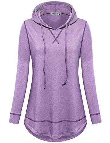 MOQIVGI Womens Dry Fit Sweatshirt Hoodie Pullover Fall Winter Exercise Fitness Tops Ladies Stylish Plain Soft Stretchy Athletic Long Sleeve Shirts Purple X-Large