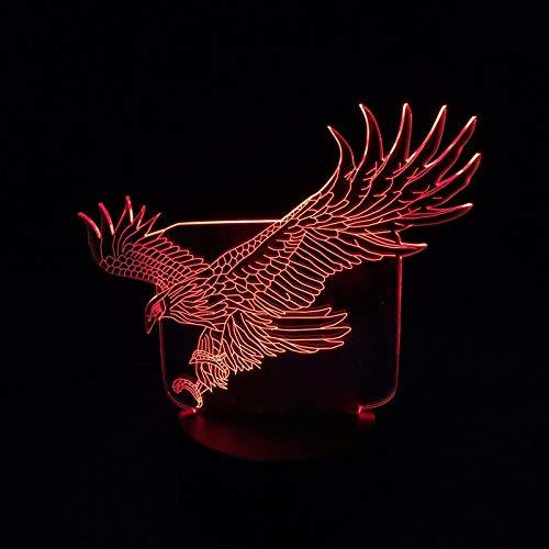 Cool Spread wings Flying Big Eagle Bird Animal Figura de acción 3D LED Luz de noche Lámpara de mesa Niño Bebé Guardería Dormitorio Oficina Niños Regalo Decoración para el hogar
