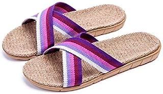 HRFEER Women Slippers Breathable Linen Men's Sandals Casual Flat Shoes Indoor Slides Unisex Home Slipper