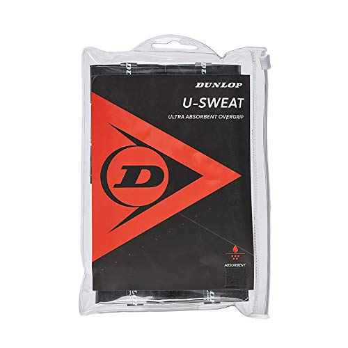 Dunlop Sports U Sweat Tennis Overgrip, 12 Grip Bag, Nero
